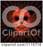 Clipart Hellish Cracked Human Skull Over Grungy Halloween Rays And Splatters Royalty Free Vector Illustration by Pushkin