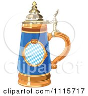 Clipart Blue Oktoberfest Beer Stein With A Pretzel Design Royalty Free Vector Illustration