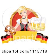 Blond Bar Maiden With Beer And A Soft Pretzel Over A German Banner