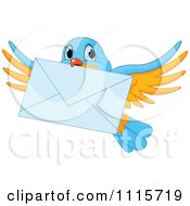 Clipart Cute Blue And Yellow Bird Flying With An Envelope Royalty Free Vector Illustration