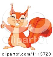 Clipart Cute Happy Squirrel Holding Out His Arms Royalty Free Vector Illustration by Pushkin