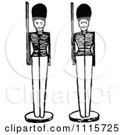 Clipart Retro Vintage Black And White Toy Soldiers Royalty Free Vector Illustration
