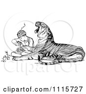 Clipart Retro Vintage Black And White Zookeeper Tending To An Injured Tiger Royalty Free Vector Illustration