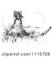 Clipart Retro Vintage Black And White Alert Tiger Royalty Free Vector Illustration by Prawny Vintage