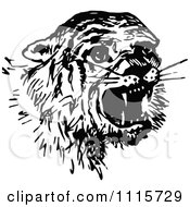 Clipart Retro Vintage Black And White Scared Tiger Royalty Free Vector Illustration by Prawny Vintage