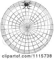 Clipart Retro Vintage Black And White Spider Making A Web Royalty Free Vector Illustration