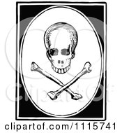 Clipart Retro Vintage Black And White Skull And Crossbones In A Frame Royalty Free Vector Illustration by Prawny Vintage