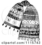 Clipart Retro Vintage Black And White Scarf Royalty Free Vector Illustration