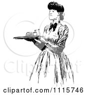 Clipart Retro Vintage Black And White Woman Carrying A Food Service Tray Royalty Free Vector Illustration