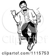 Clipart Retro Vintage Black And White Happy Man Smoking In A Chair Royalty Free Vector Illustration