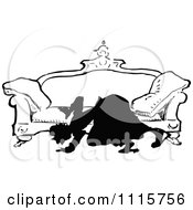 Clipart Retro Vintage Black And White Silhouetted Woman Looking Under A Sofa Royalty Free Vector Illustration