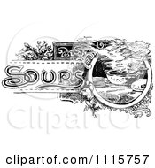 Clipart Retro Vintage Black And White Soups Text With Steamy Bowls Royalty Free Vector Illustration