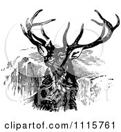 Clipart Retro Vintage Black And White Stag Buck Deer With Antlers 2 Royalty Free Vector Illustration