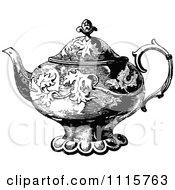 Clipart Retro Vintage Black And White Decorative Tea Pot 1 Royalty Free Vector Illustration