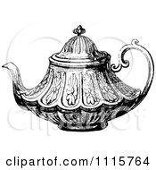 Clipart Retro Vintage Black And White Decorative Tea Pot 2 Royalty Free Vector Illustration
