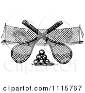 Clipart Retro Vintage Black And White Crossed Tennis Rackets Over Balls And A Net Royalty Free Vector Illustration