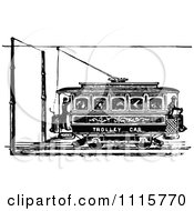 Clipart Retro Vintage Black And White Trolley Car Royalty Free Vector Illustration