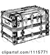 Clipart Retro Vintage Black And White Luggage Trunk Royalty Free Vector Illustration