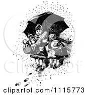 Clipart Retro Vintage Black And White Boy And Girl With Toys Under An Umbrella In The Snow Royalty Free Vector Illustration
