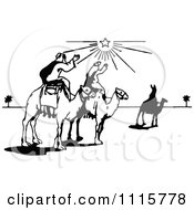 Retro Vintage Black And White Wise Men On Camels Under The North Star