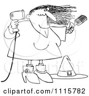 Clipart Outlined Halloween Witch Blow Drying Her Hair Royalty Free Vector Illustration