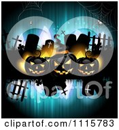 Clipart Blue Halloween Background With Tombstones And Black Jackolanterns 2 Royalty Free Vector Illustration by merlinul