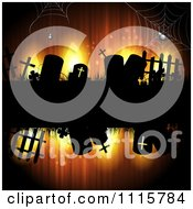 Clipart Grungy Orange Halloween Background With Spiders And Gravestones Royalty Free Vector Illustration