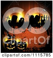 Clipart Orange Halloween Background With Tombstones And Black Jackolanterns Royalty Free Vector Illustration
