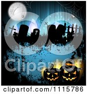 Clipart Blue Halloween Background With Tombstones And Black Jackolanterns 1 Royalty Free Vector Illustration