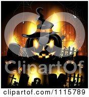 Clipart Orange Halloween Background With Tombstones And A Black Jackolantern 2 Royalty Free Vector Illustration