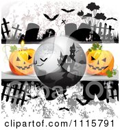 Clipart Haunted House On A Grungy Cemetery Halloween Background With Jackolanterns Royalty Free Vector Illustration