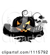 Black Halloween Jackolantern And A Tombstone