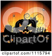 Clipart Orange Halloween Background With A Black Jackolantern In A Cemetery Royalty Free Vector Illustration