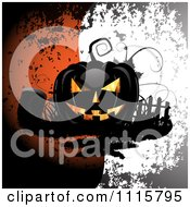 Clipart Black Halloween Jackolantern With A Grave Over Grungy Orange And White Royalty Free Vector Illustration
