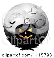 Clipart Black Halloween Jackolantern Against A Full Moon With Bats Royalty Free Vector Illustration by merlinul