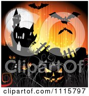 Clipart Orange Halloween Background With A Haunted House Graves And A Black Jackolantern 3 Royalty Free Vector Illustration