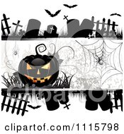 Clipart Halloween Background With Tombstones Spider And A Black Jackolantern Royalty Free Vector Illustration by merlinul