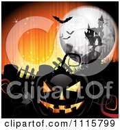 Clipart Orange Halloween Background With A Haunted House Graves And A Black Jackolantern 2 Royalty Free Vector Illustration