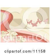 Pink Butterflies And Flowers Background Clipart Illustration