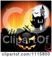 Clipart Orange Halloween Background With A Haunted House Graves And A Black Jackolantern 1 Royalty Free Vector Illustration