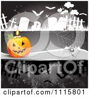 Clipart Dark Halloween Background With A Jackolantern Spider And Tombstones Royalty Free Vector Illustration