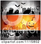 Clipart Grungy Halloween Background With Tombstones And A Jackolantern 2 Royalty Free Vector Illustration
