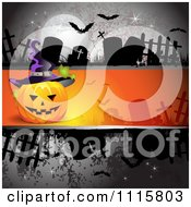Clipart Dark Halloween Background With Tombstones And A Jackolantern Royalty Free Vector Illustration