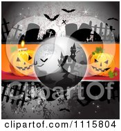 Clipart Bats And A Haunted House On A Grungy Cemetery Halloween Background With Jackolanterns Royalty Free Vector Illustration