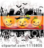 Clipart Grungy Halloween Background With Tombstones And A Jackolantern 1 Royalty Free Vector Illustration
