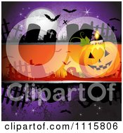 Clipart Purple Halloween Background With Tombstones And A Jackolantern Royalty Free Vector Illustration