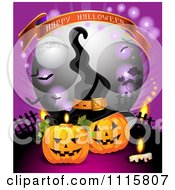 Happy Halloween Banner Over Jackolanterns With A Witch Hat In A Cemetery
