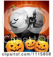Happy Halloween Banner Over A Haunted House And Jackolanterns In A Cemetery