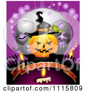 Happy Halloween Banner Under A Jackolantern With A Witch Hat And Candle In A Cemetery