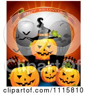 Happy Halloween Banner Over A Jackolantern With A Witch Hat In A Cemetery